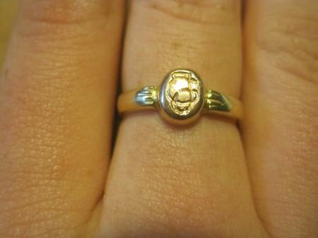 אחת מהטבעות המשוכפלות עם שילוב האותיות G J