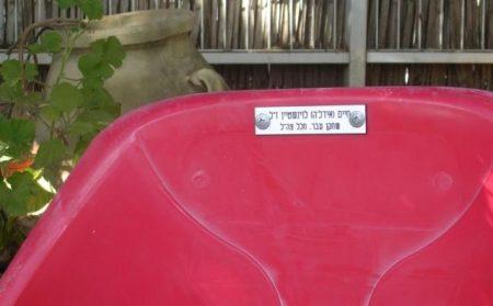 הכסא/המושב המפורק מהאיטדיון נושא שמו של אידל'ה
